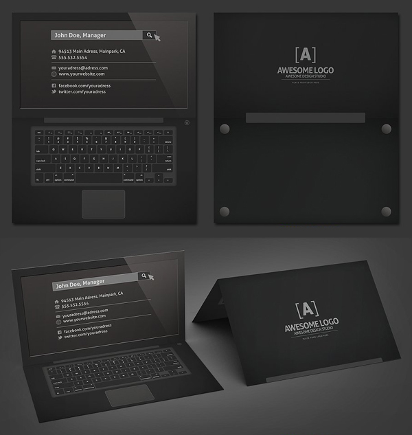 Laptop Business Card Black