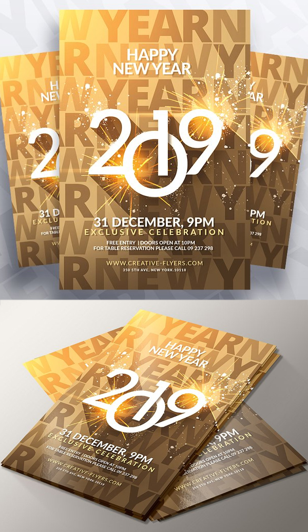 Gold New Year Flyer Template