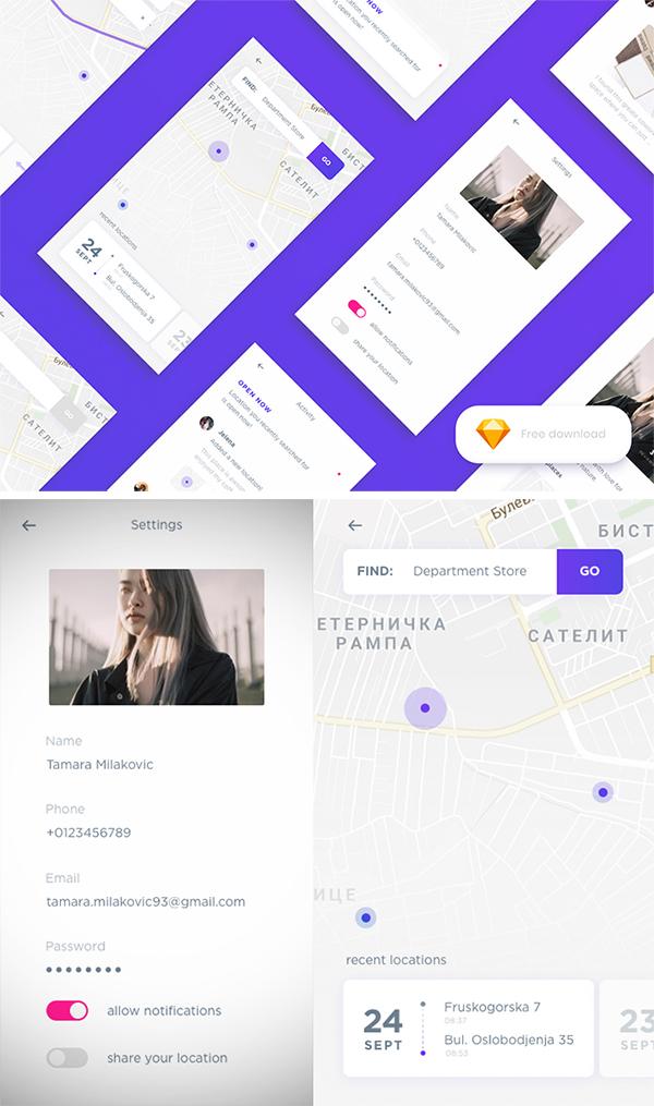 Free Download Creative Location App Template Design (Sketch App)