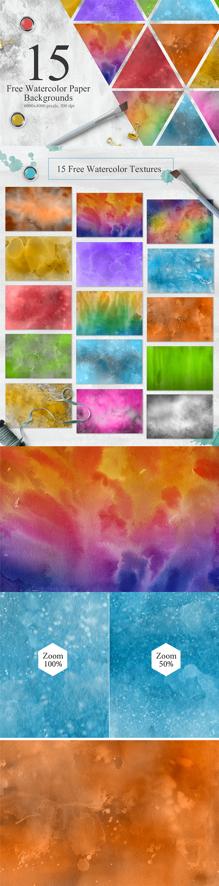 15 Free Watercolor Colorful Textures
