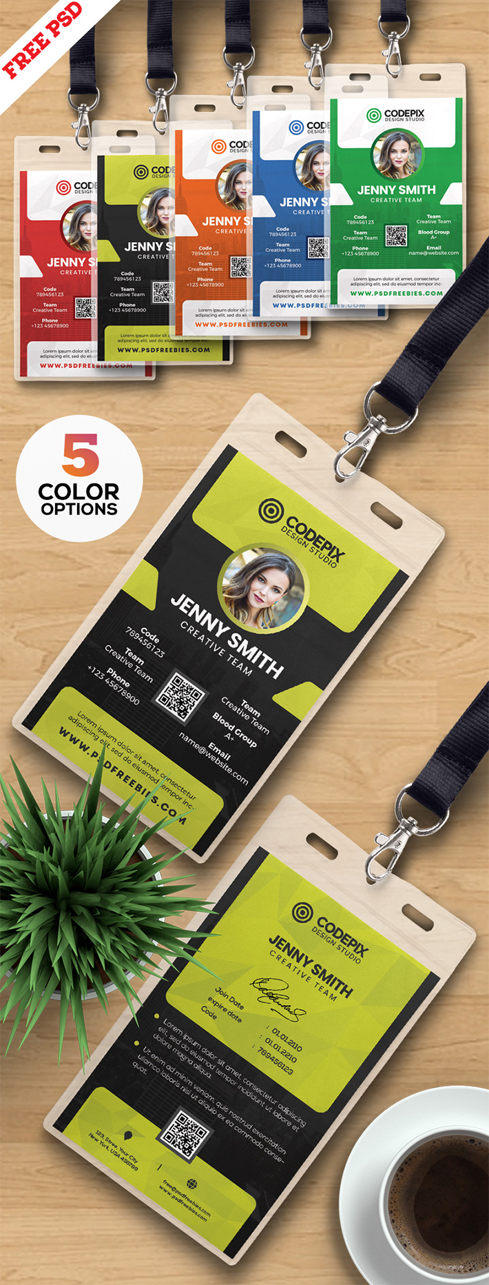 Vertical Office Identity Card Design PSD