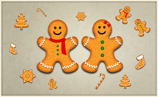 Yummy Christmas Vector Cookies In Photoshop