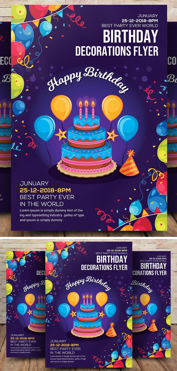 Birthday Decoration Flyer Template