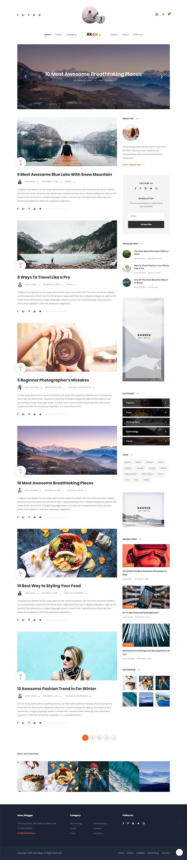Akea Blog - Gutenberg Minimal Blog WordPress For Blog