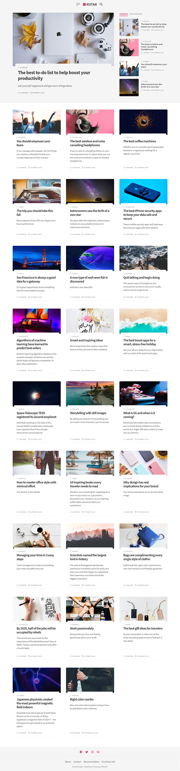 Kutak - Creative Personal Blog & Minimal Magazine WordPress Theme