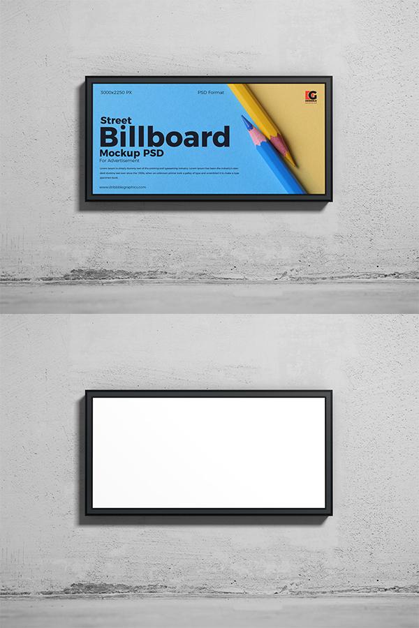 Free Street Billboard Mockup PSD