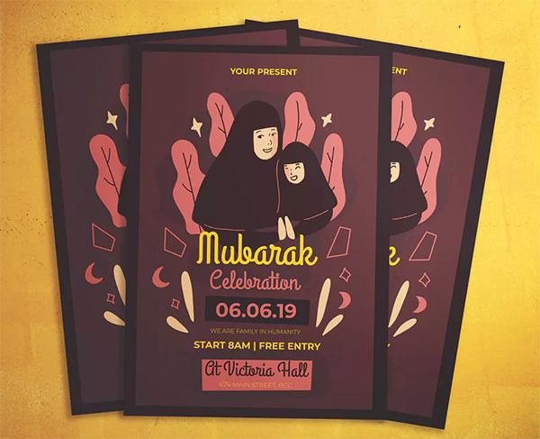 Mubarak Celebration Flyer Template