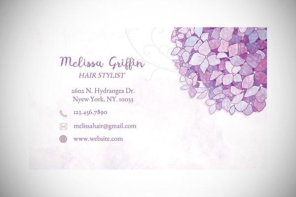Purple Hydrangeas Business Cards