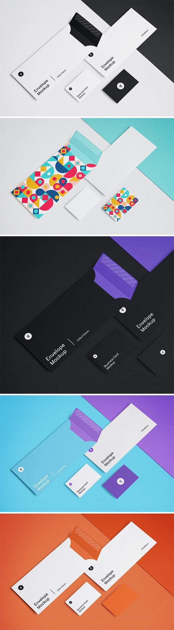 Envelope and Business Card Mockups