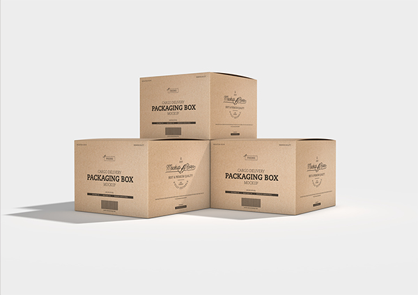 Cargo Delivery Packaging Box Mockup