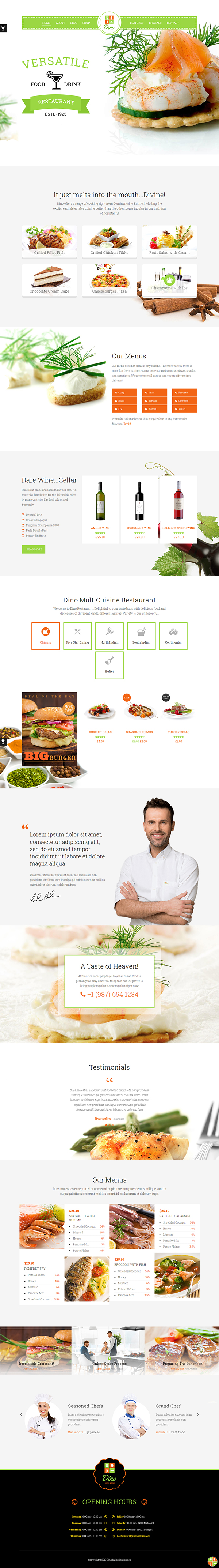 Dino - Bakery Fast Food WP Theme