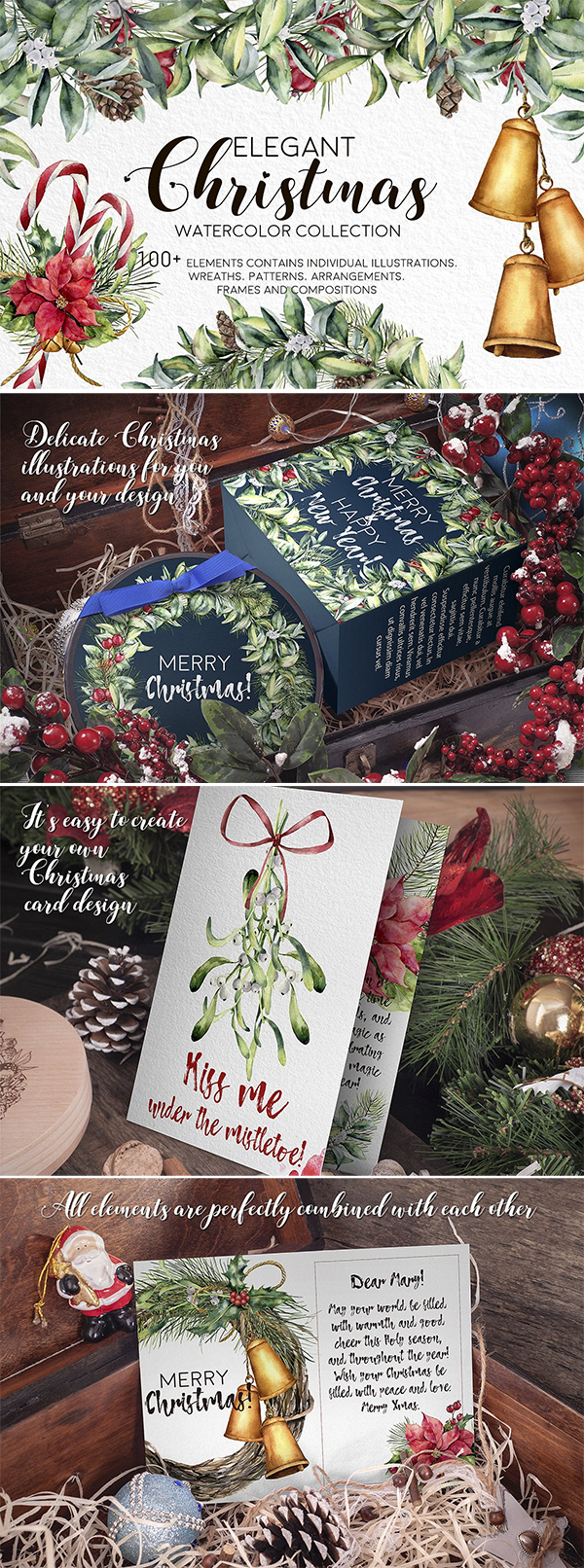 Elegant Christmas Watercolor bundle