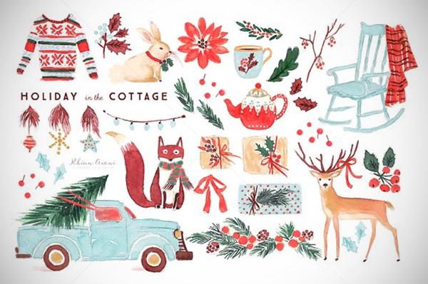 Watercolor Holiday Clip Art Set