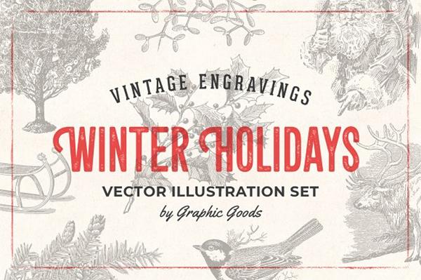 Winter Holidays - Vintage Engravings