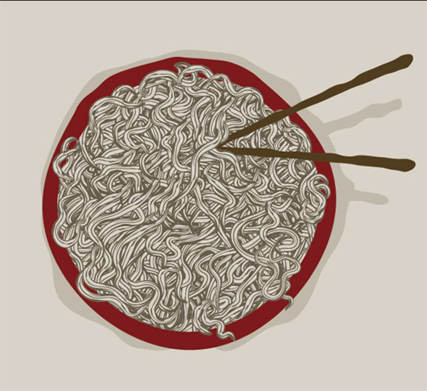 How to quickly Create a Bowl of Hand drawn Noodles