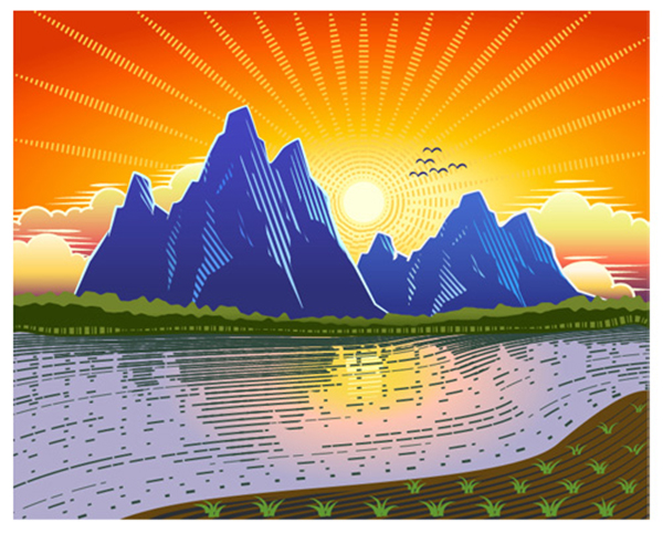Sunset Landscape with Woodcut Style