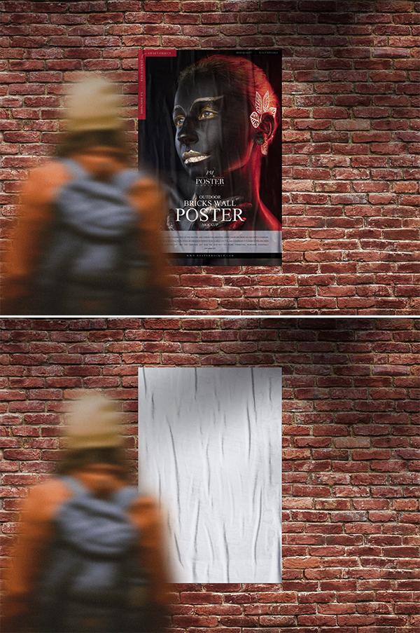 Outdoor Girl Looking Bricks Wall Poster Mockup Free