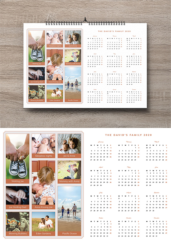 Free Download Awesome New Year Calendar With Family Photos (2020)