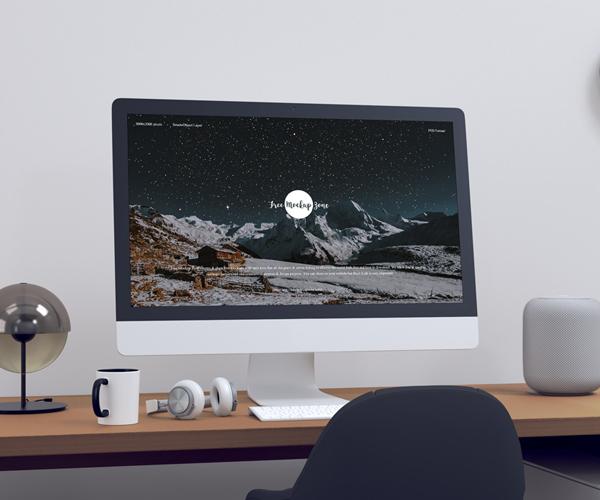 Free Modern Designer Workstation iMac Mockup
