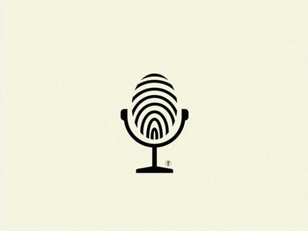 Microphone + Fingerprint Logo Design