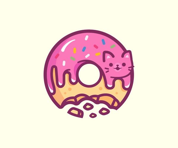 Donut Cat Logo Design