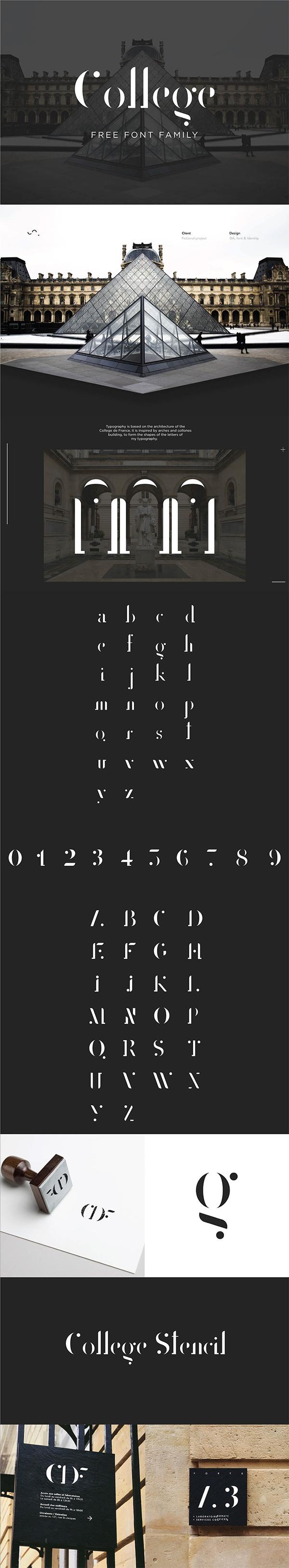 College Stencil Free Font