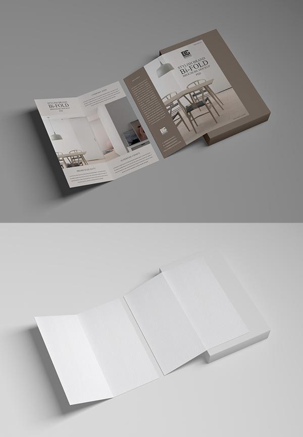 Free Stylish Brand Bi-Fold Brochure Mockup PSD 2019