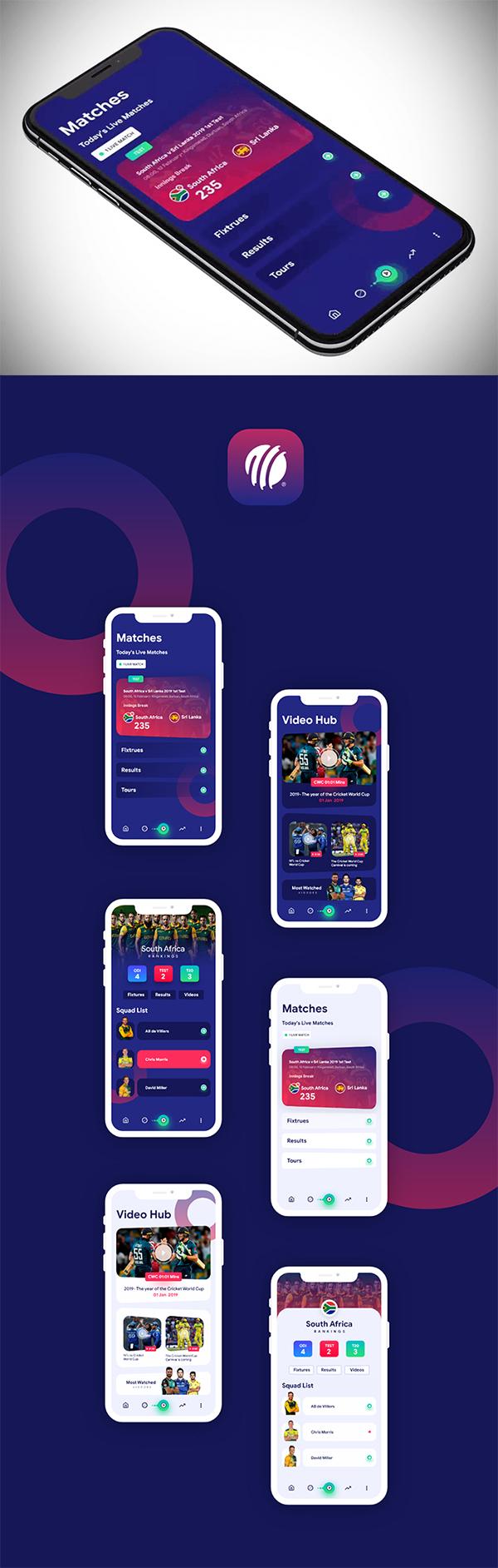 Free Download Awesome Icc Cricket App Design (2019)