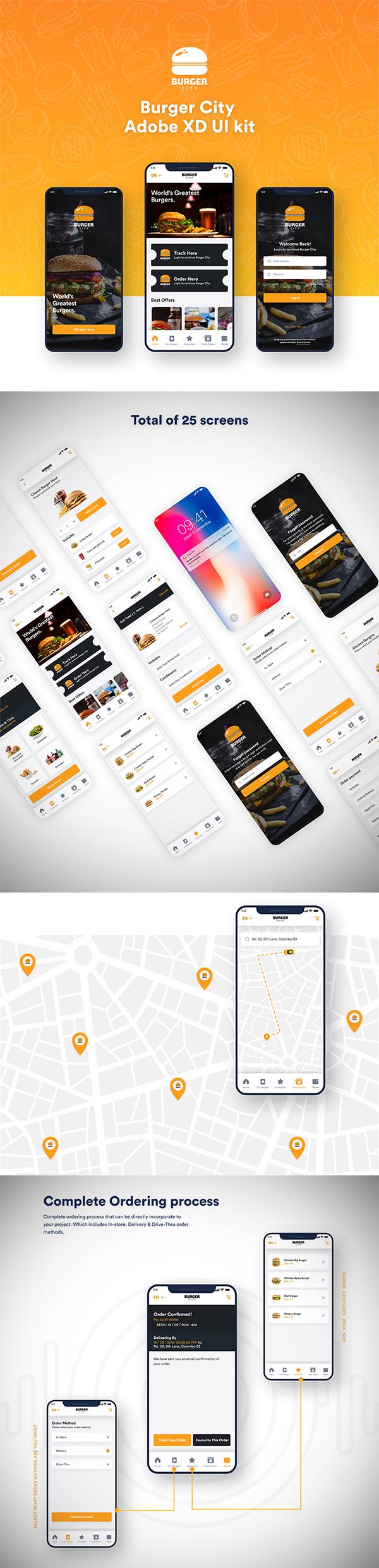 Free Download Creative Burger Store Mobile App (Adobe XD UI kit)