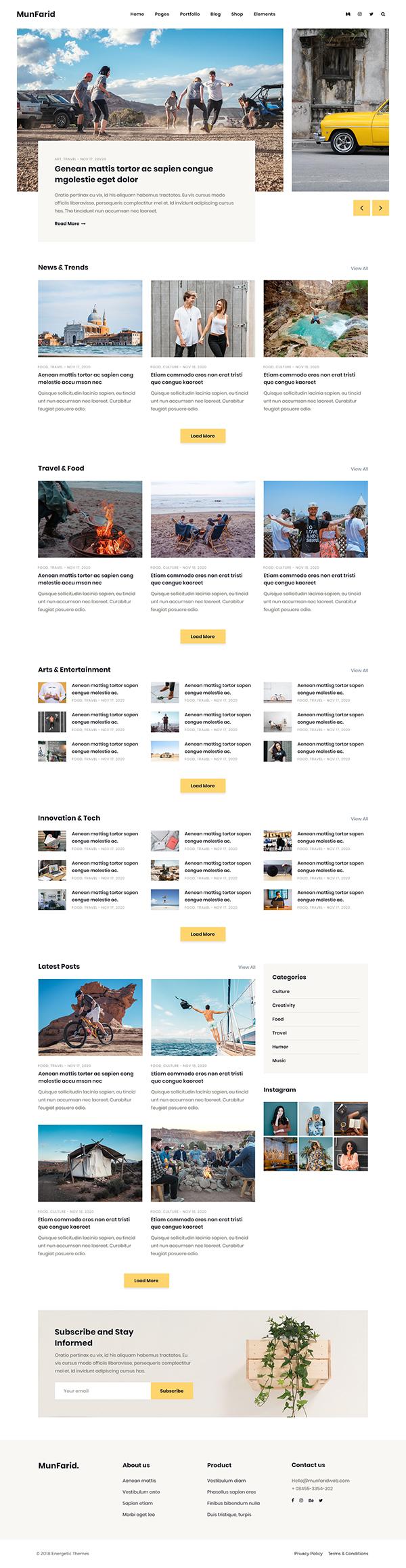 Munfarid - A WordPress Theme For Blog & Shop