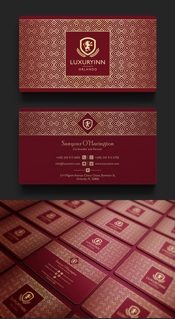 Elegant Red & Gold Business Card