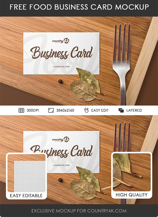 Free Food Business Card PSD MockUp