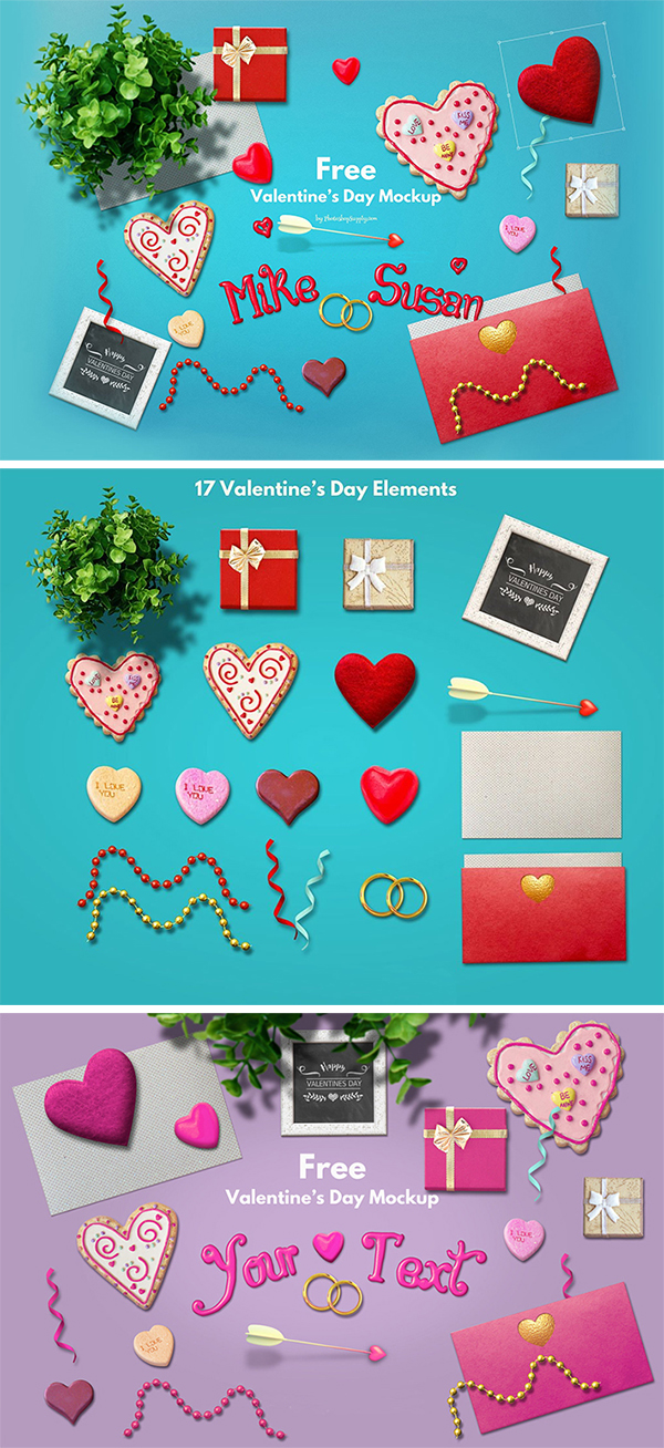 Free Download Awesome Valentine's Day Mockup (Scene Creator)
