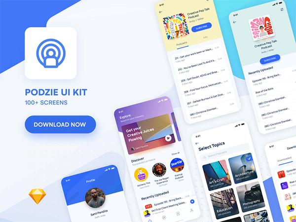 Podcast App UI Kit | Light & Dark | Freebie