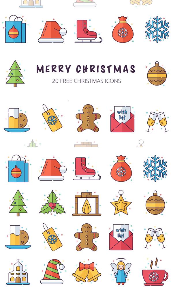 Merry Christmas Vector Free Icon Set