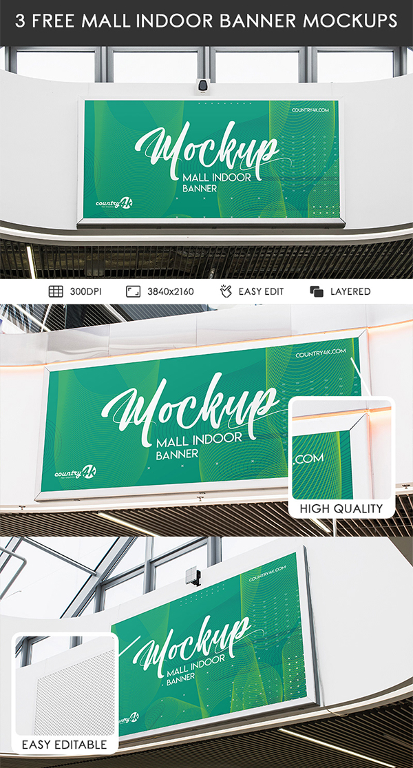 3 Free Mall Indoor Banner PSD MockUps