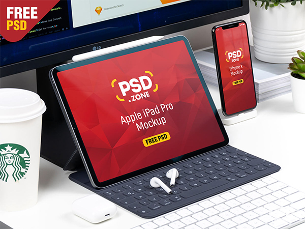 iPad Pro with iPhone X Mockup
