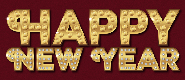 Diamond Happy New Year Vector Text