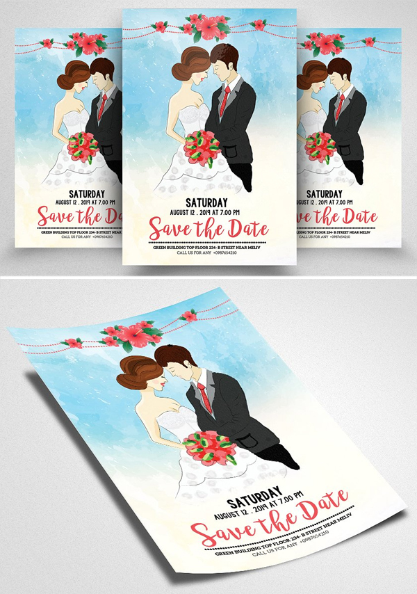 Watercolor Save Date Flyer Template