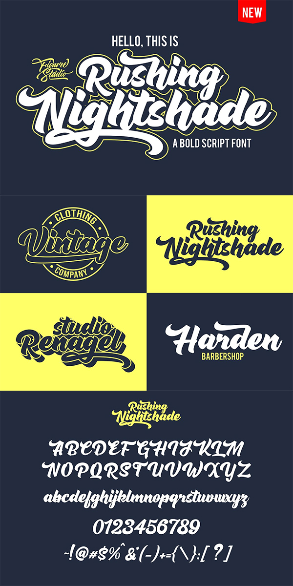 Rushing Nightshade Font Design