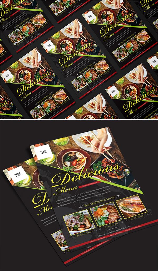 Freebie : Elegant Restaurant Flyer PSD Template