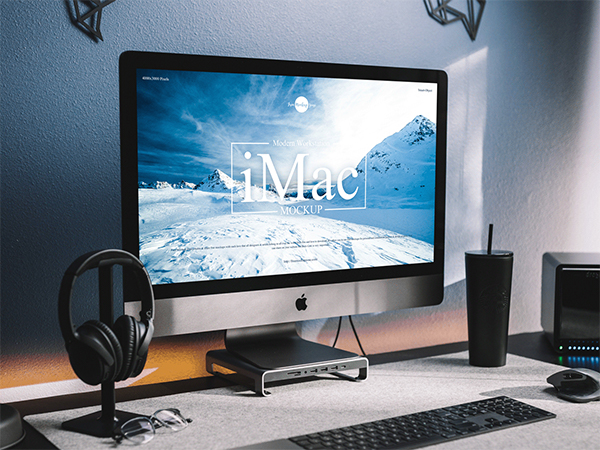 Free Modern Workstation iMac Mocku