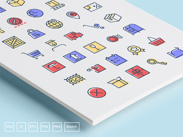 35 Free Coloured Checkout and Delivery Icons