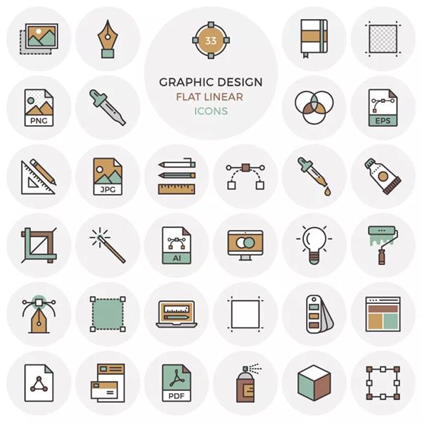 33 Free Flat Graphic Design Icons