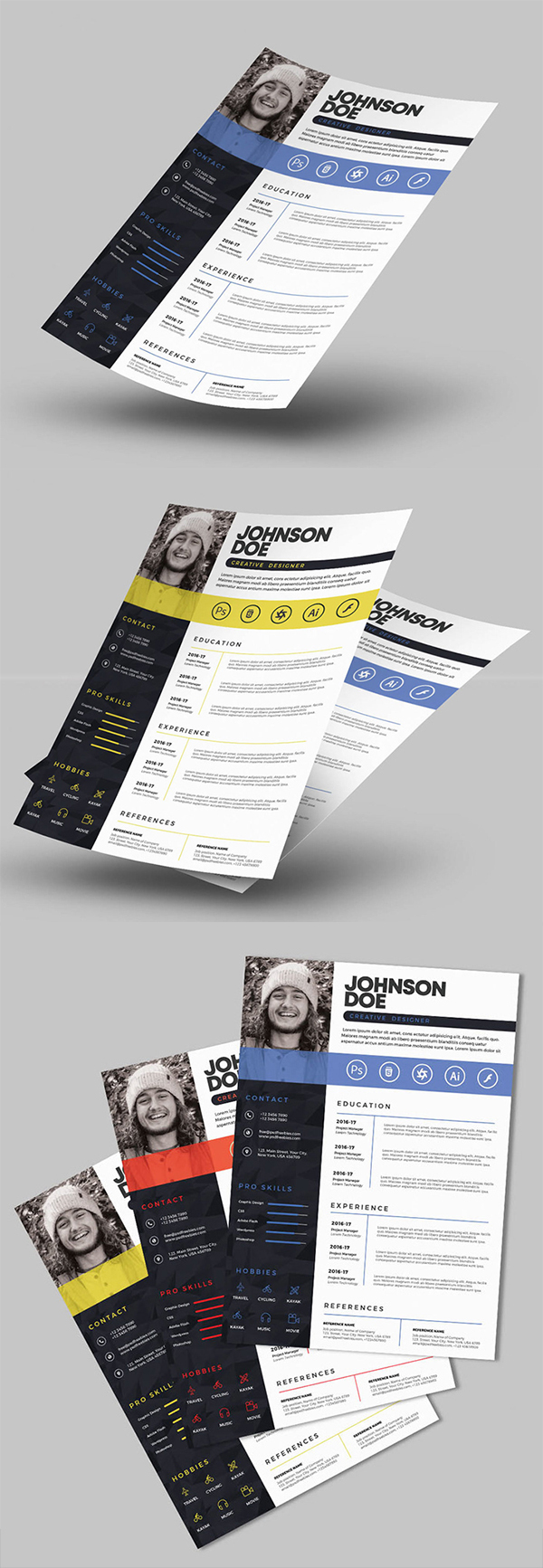Free Download Creative Resume / CV Template Design (3 Color Options)