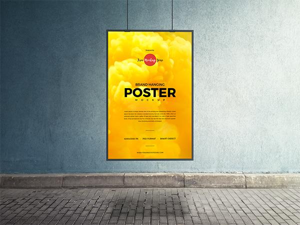 Free Brand Hanging PSD Poster Mockup Design