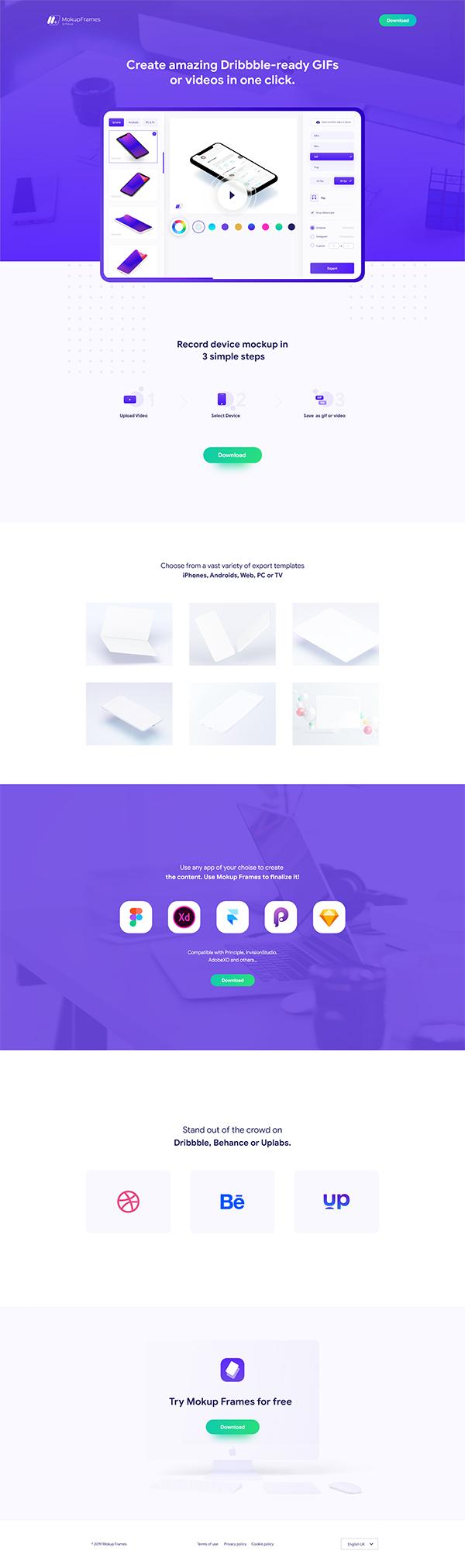 Mokupframes Landing Page and App Design