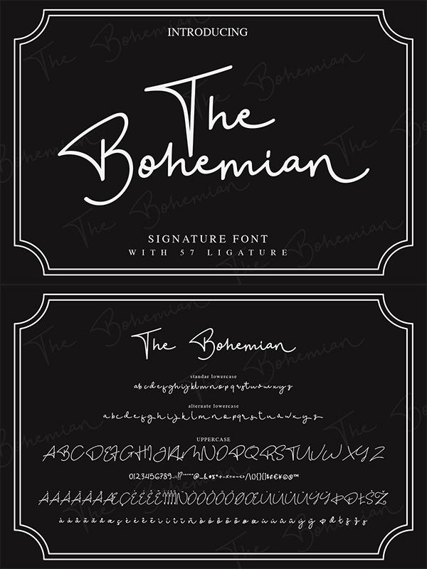 The Bohemian - a Signature Free Font