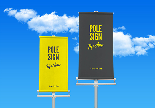 Free Outdoor Advertising Modern Pole Banner Mockup PSD