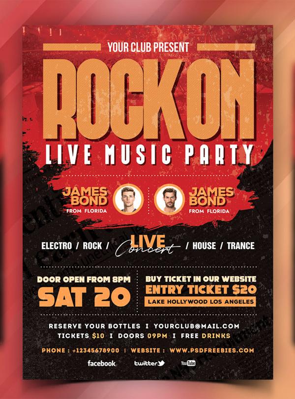 Live Rock Music Event Flyer PSD